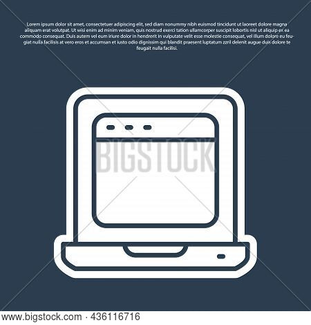 Blue Line Laptop With Browser Window Icon Isolated On Blue Background. Computer Notebook With Empty