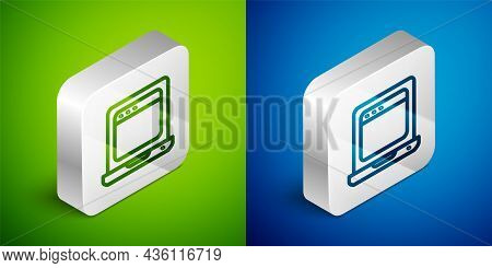 Isometric Line Laptop With Browser Window Icon Isolated On Green And Blue Background. Computer Noteb