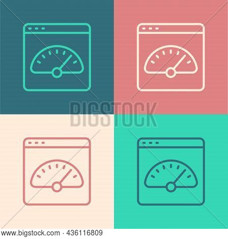 Pop Art Line Digital Speed Meter Icon Isolated On Color Background. Global Network High Speed Connec