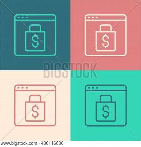 Pop Art Line Online Shopping On Screen Icon Isolated On Color Background. Concept E-commerce, E-busi