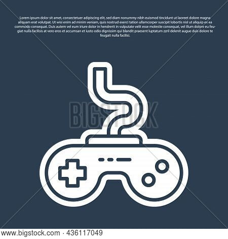 Blue Line Gamepad Icon Isolated On Blue Background. Game Controller. Vector