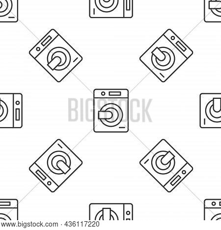 Grey Line Washer Icon Isolated Seamless Pattern On White Background. Washing Machine Icon. Clothes W