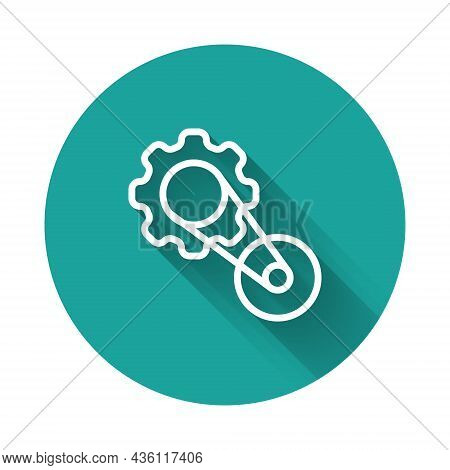 White Line Timing Belt Kit Icon Isolated With Long Shadow Background. Green Circle Button. Vector