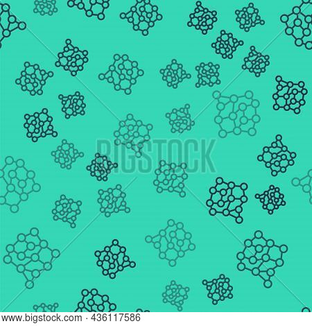 Black Line Neural Network Icon Isolated Seamless Pattern On Green Background. Artificial Intelligenc