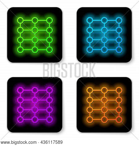 Glowing Neon Line Neural Network Icon Isolated On White Background. Artificial Intelligence Ai. Blac