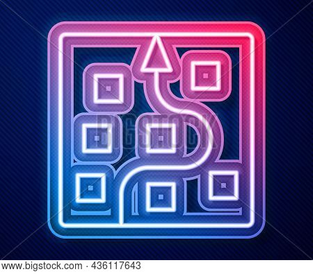 Glowing Neon Line Neural Network Icon Isolated On Blue Background. Artificial Intelligence Ai. Vecto