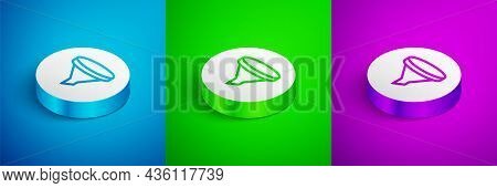 Isometric Line Funnel Or Filter Icon Isolated On Blue, Green And Purple Background. White Circle But