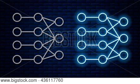 Glowing Neon Line Neural Network Icon Isolated On Brick Wall Background. Artificial Intelligence Ai.