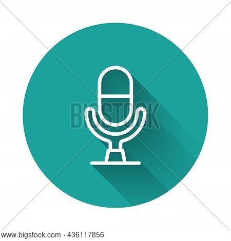 White Line Microphone Voice Device Icon Isolated With Long Shadow Background. Microphone Interpreter