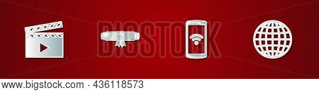 Set Movie Clapper, Diploma Rolled Scroll, Smartphone With Wireless And Earth Globe Icon. Vector