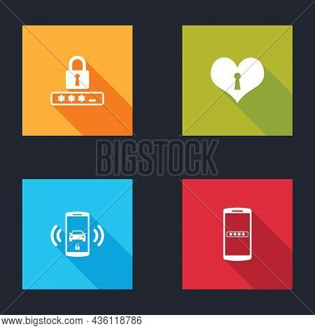Set Password Protection, Heart With Keyhole, Smart Car Alarm System And Mobile And Password Icon. Ve