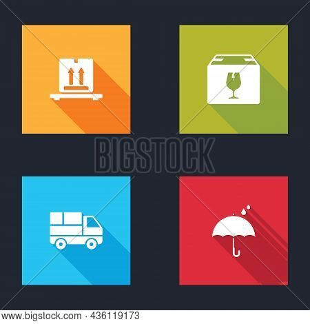 Set Cardboard Boxes On Pallet, Delivery With Fragile Content, Truck And Umbrella And Rain Drops Icon