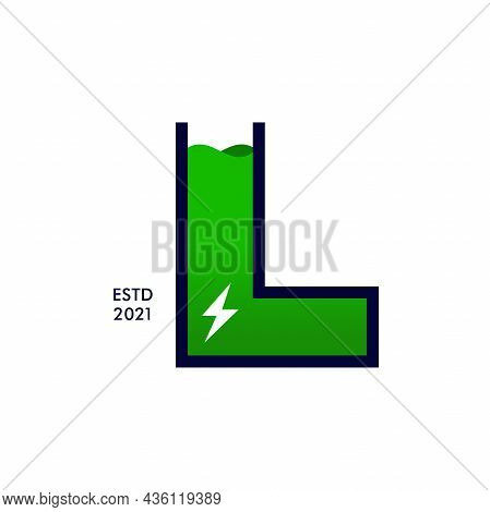 Modern, Bold And Strong Illustration Logo Design Initial L Shaped Like A Battery Charge.