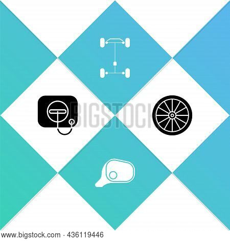 Set Oil Filler Cap At Gas Station, Car Mirror, Chassis Car And Wheel Icon. Vector