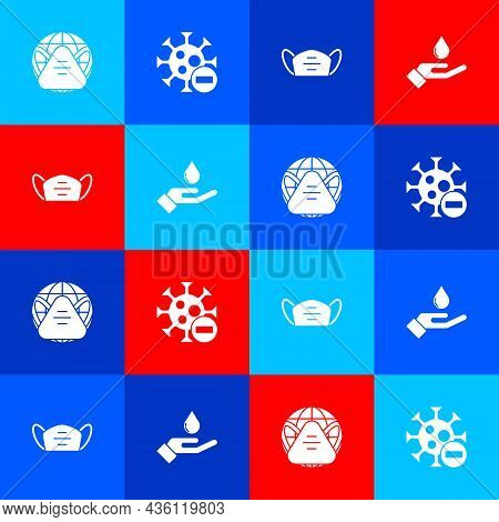 Set Earth With Medical Mask, Negative Virus, Medical Protective And Washing Hands Soap Icon. Vector