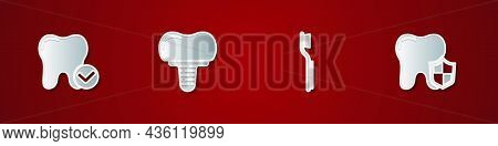 Set Tooth Whitening Concept, Dental Implant, Toothbrush And Protection Icon. Vector