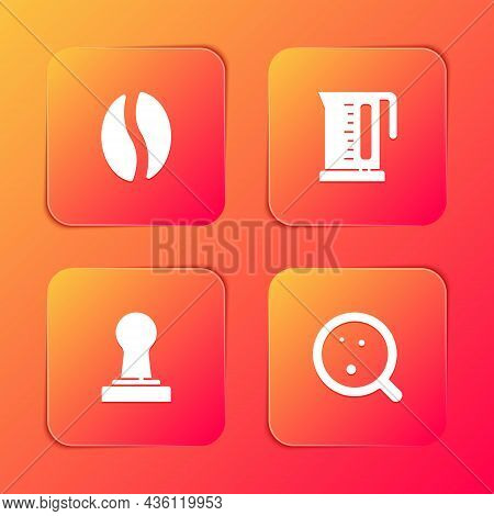 Set Coffee Beans, Electric Kettle, Tamper And Cup Icon. Vector