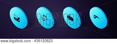 Set Isometric Reciprocating Saw, Air Compressor, Electric Circular And Planer Tool Icon. Vector