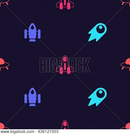Set Comet Falling Down Fast, Rocket Ship, And Ufo Flying Spaceship On Seamless Pattern. Vector