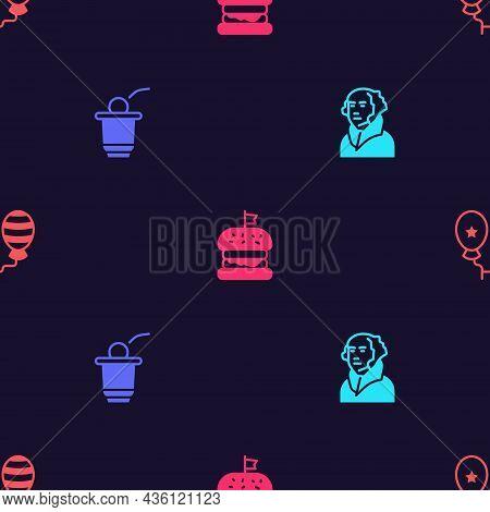 Set George Washington, Beer Pong Game, Burger And Balloons On Seamless Pattern. Vector