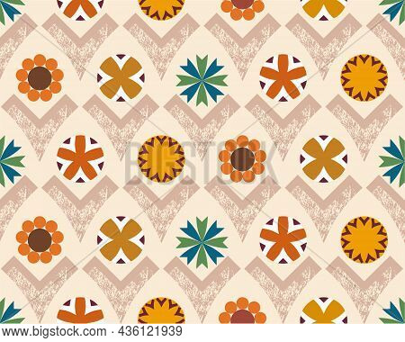 Neutral Earthy Grounded Warm Hues Geometric Flowers In Various Circular And V Shapes. Vector Surface