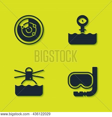 Set Radar With Targets, Diving Mask And Snorkel, Lighthouse And Periscope Icon. Vector