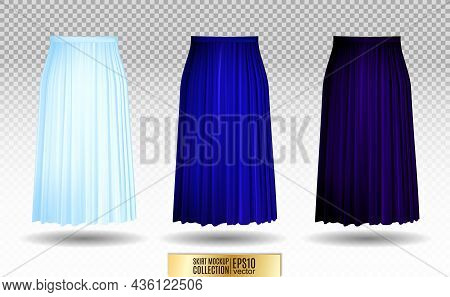 Vector Illustration Of Different Model Skirt On Transparent Background. Pleated Skirt Mock Up. Blue