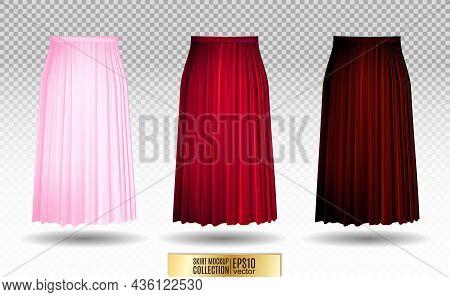 Vector Illustration Of Different Model Skirt On Transparent Background. Pleated Skirt Mock Up. Pink,