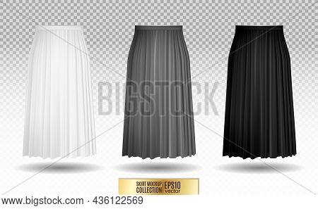 Vector Illustration Of Different Model Skirt On Transparent Background. Pleated Skirt Mock Up. White