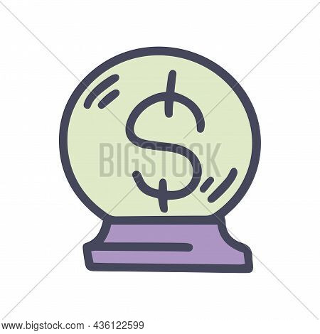 Crystal Ball With Money Color Vector Doodle Simple Icon