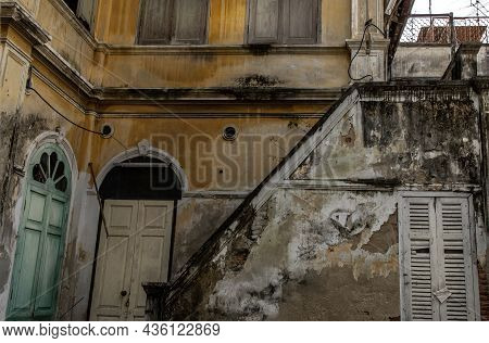 External Of Old Building Was Left To Deteriorate Over Time, Western Architecture Style.