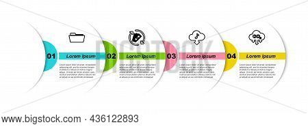 Set Line Folder, Refund Money, Cloud Download Music And Co2 Emissions In Cloud. Business Infographic