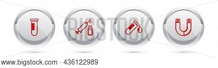 Set Line Test Tube Or Flask, Medical Syringe And Vial, With Drop Of Blood And Magnet. Silver Circle