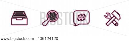 Set Line Drawer With Documents, Hashtag Speech Bubble, Microorganisms Under Magnifier And Crossed Ha