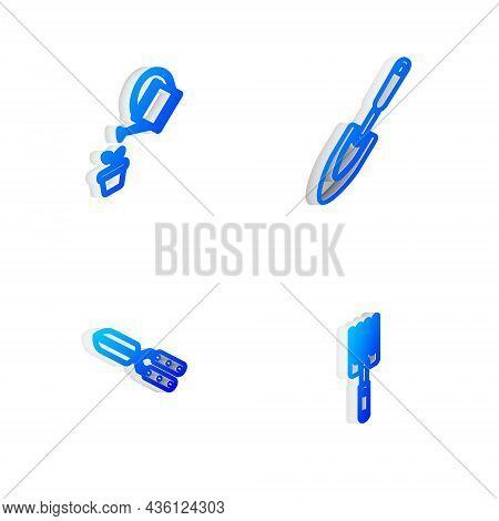 Set Isometric Line Garden Trowel Spade Or Shovel, Watering Can, Gardening Handmade Scissor And Fork
