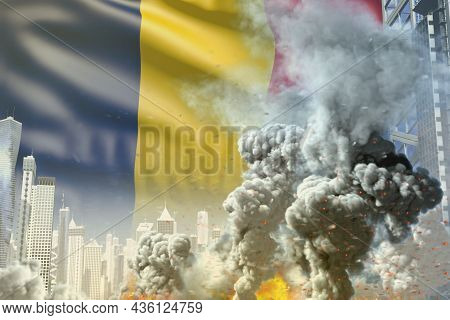 Large Smoke Pillar With Fire In The Modern City - Concept Of Industrial Accident Or Terroristic Act