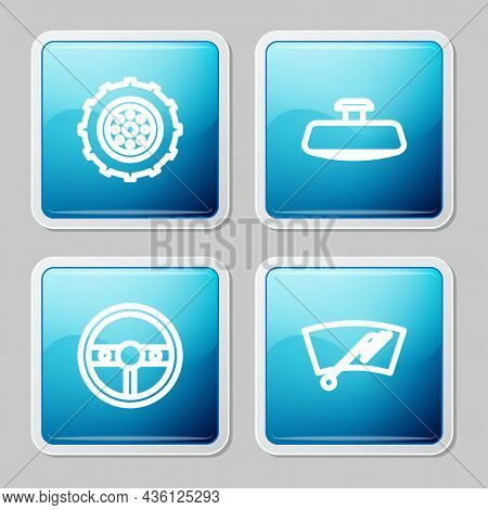Set Line Car Wheel, Mirror, Steering And Windscreen Wiper Icon. Vector