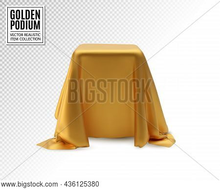 Vector Realistic Box Covered With Golden Silk Cloth On Transparent Background. Empty Podium, Stand W