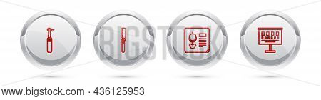 Set Line Tooth Drill, Medical Saw, X-ray Shots And Eye Test Chart. Silver Circle Button. Vector
