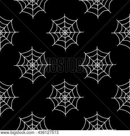 Flat Vector Illustration. Halloween Seamless Pattern With White Cobwebs On Black Background. Use For