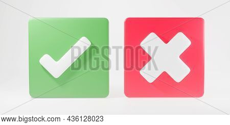 Green Tick Check Mark And Cross Mark Symbols Icon Element In Square, Simple Ok Yes No Graphic Design