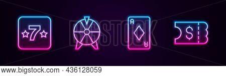 Set Line Casino Slot Machine, Lucky Wheel, Playing Card With Diamonds And Lottery Ticket. Glowing Ne