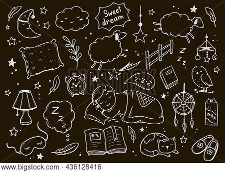Sleep, Relax Time, Dream Night Doodle Set On Chalkboard Background. Concept Comfort Night Sleep Time