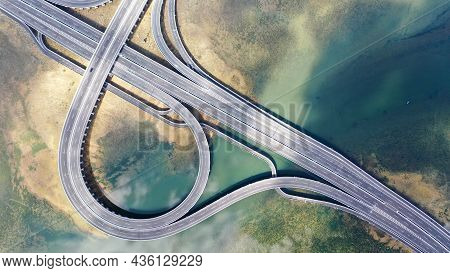Aerial View To Ring Road Toll Way Structure And Construction From Aerial View, Nature And Urban Land