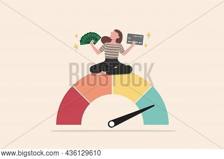 Good Credit Score For Credit Card Spending With Sufficient Cash To Pay Debt Create Excellent Persona