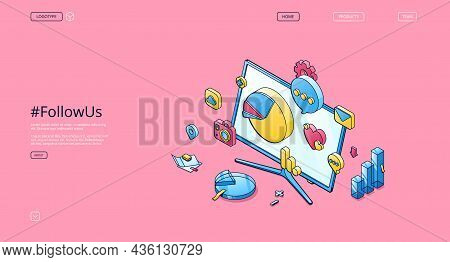 Follow Us Isometric Landing Page, Social Media Marketing Smm Strategy Campaign, Icons Of Charts, Gra