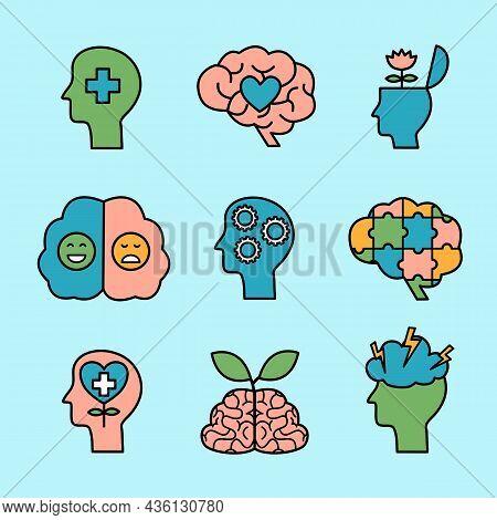 Mental Health Icon Set Vector Illustration. Mental Illness. Psychotherapy.