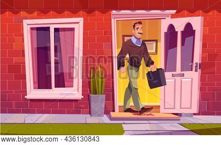 Man Leaving Home And Going To Work. Vector Cartoon Illustration With Adult Character With Briefcase
