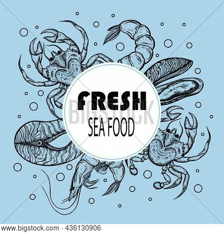 Seafood Vector Banner. Hand Drawn Doodle On A Blue Background. Silhouette Of Crab, Shrimp, Salmon, M