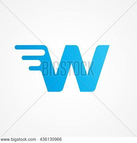 Initial Alphabet Logo Design Template. Vector Illustration Of Letter W Streaking With Fluid Effect.